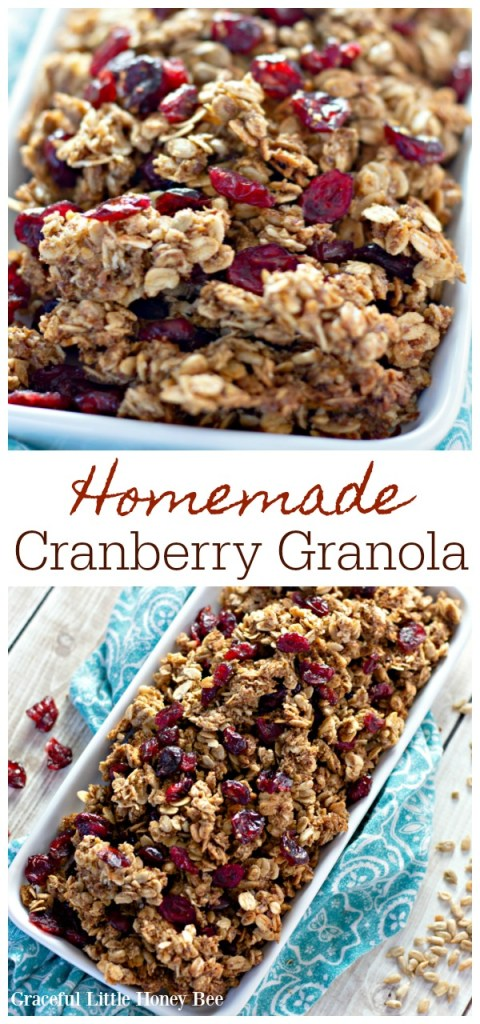 Homemade Cranberry Granola in a white bowl with a blue tea towel under it.