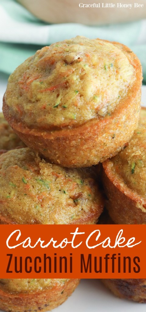 Carrot cake muffins in a stack on a white plate.