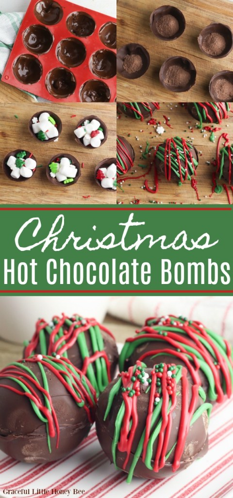 A colloge of photos showing how to make Christmas Hot Chocolate Bombs.