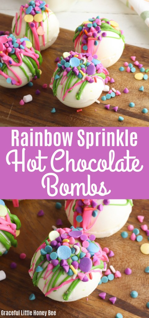 A collage of photos including a set of four rainbow hot chocolate bombs sitting on a wooden board and a single hot chocolate bomb sitting on a wooden cutting board.