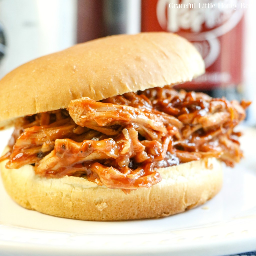 Pulled Pork Sandwhich sitting a on white plate with a bottle of Dr. Pepper in the background.