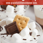 A s'mores pudding parfait topped with mini marshmallows, chocolate sprinkles, graham cracker and Hershy's chocolate.