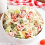 BLT Pasta Salad in a small white bowl.
