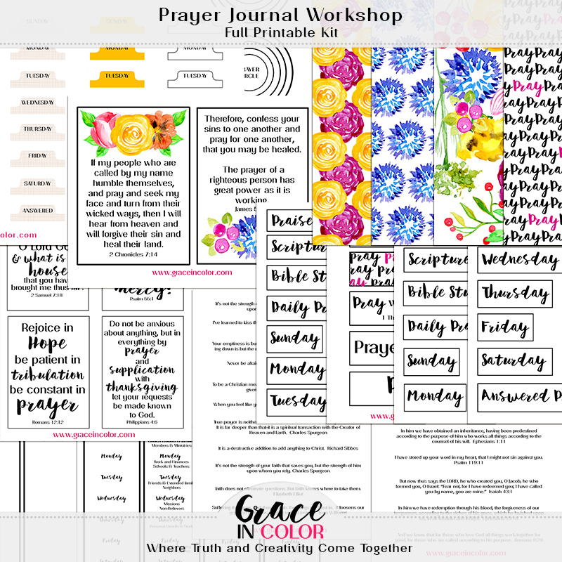graphic relating to Prayer Printable known as Prayer Magazine Workshop and Printables - Grace inside of Shade