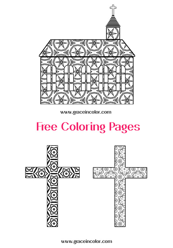 Coloring Pages_ Church and Crosses