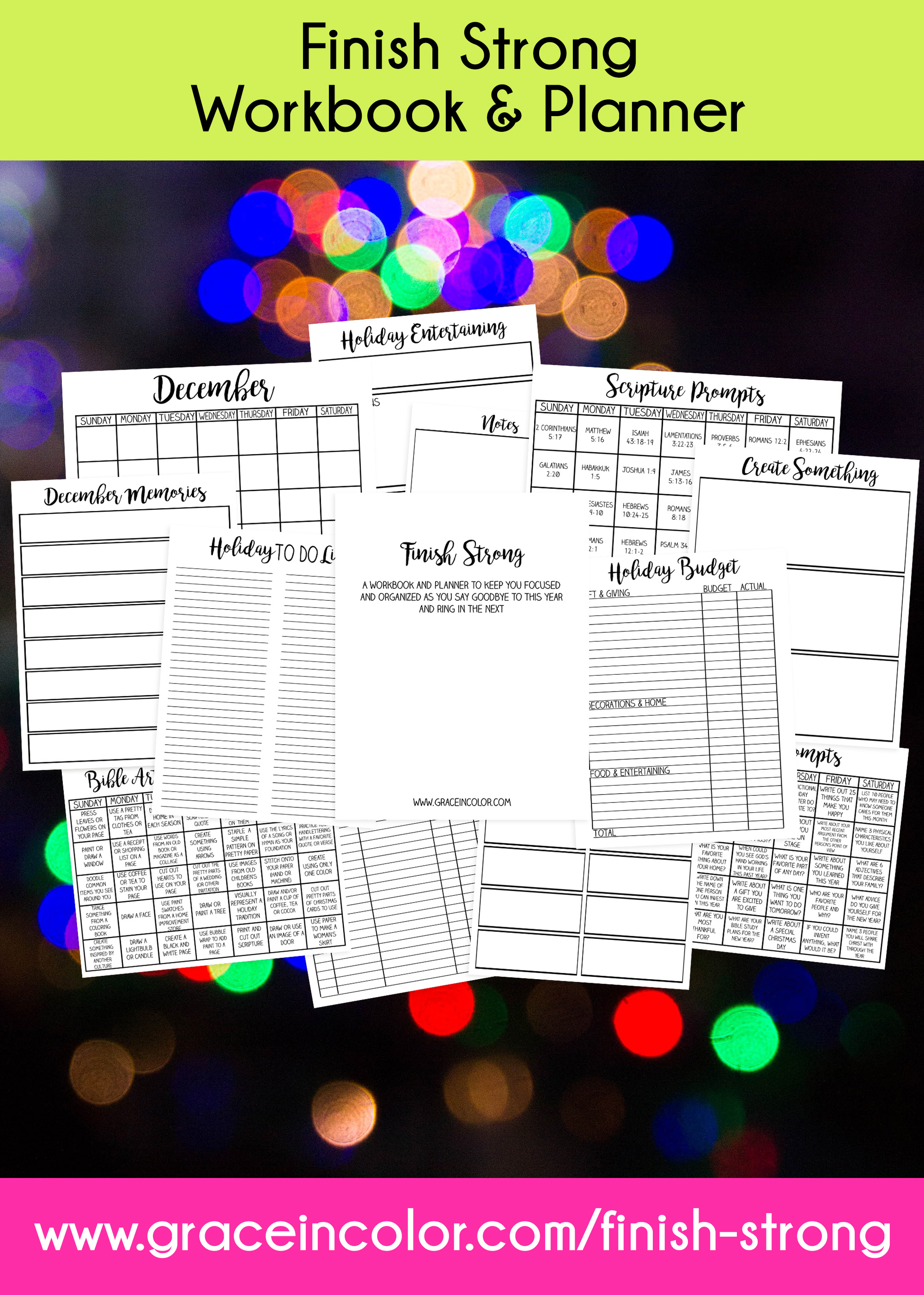 Finish this year Strong with this Workbook and Planner from Grace in Color.  #planner #holidayplanning #newyearplanning