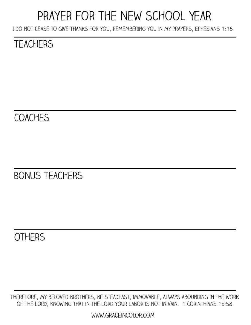 Prayer for School and Teachers: Free Printable