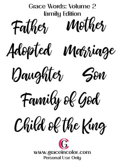 Grace Words, Family Edition. Word Art for Bible Journaling and other products