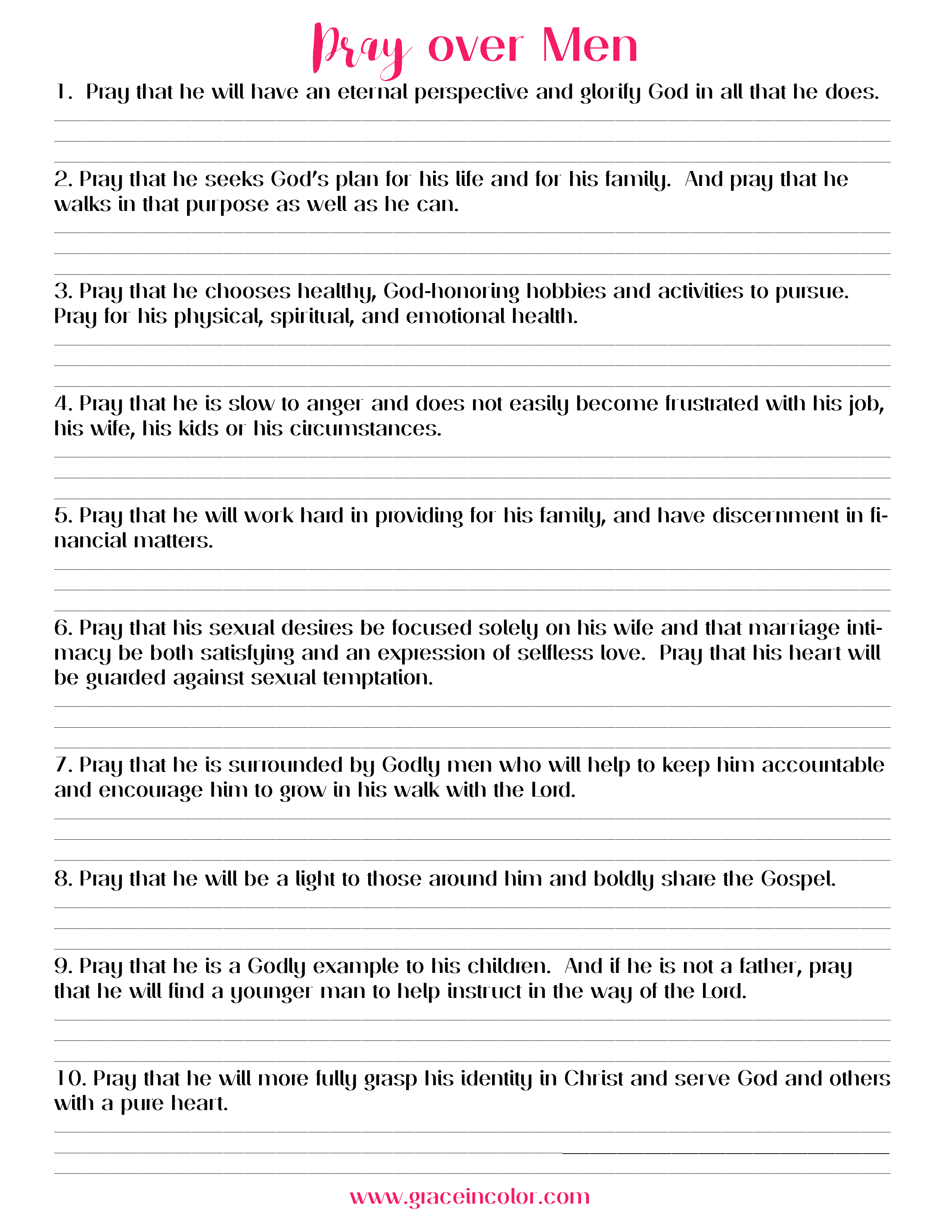 Prayer Prompts for the Men in your Life: Free Printable