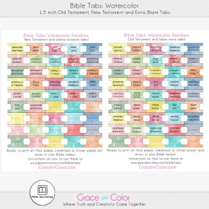 Printable Watercolor Bible Tabs by Grace in Color