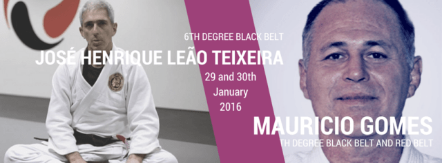 Mauricio Gomes (7th Degree Red and Black Belt) and José Henrique Leão Teixeira (6th Degree Black Belt)