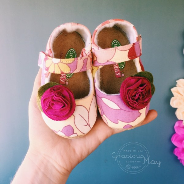 Gracious May Fuchsia Pink and Yellow Baby Shoes