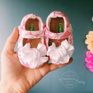 Pink and White Satin Bow Mary Janes for Baby and Toddler Girls
