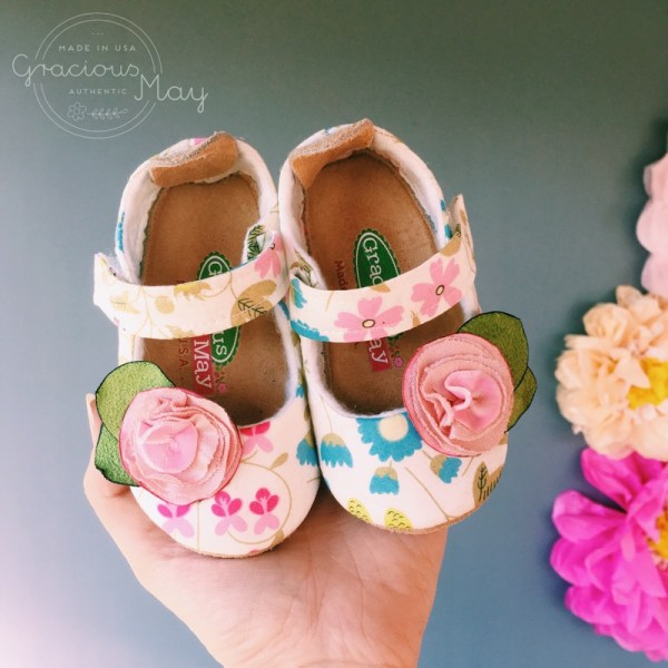 Pink and Cream Floral Made in USA Baby and Toddler Shoes by Gracious May
