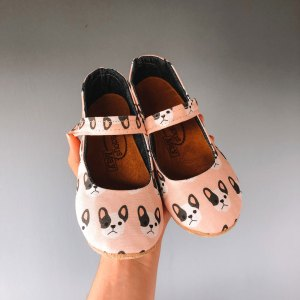 Pink Bulldog Puppy Mary Janes for Girls