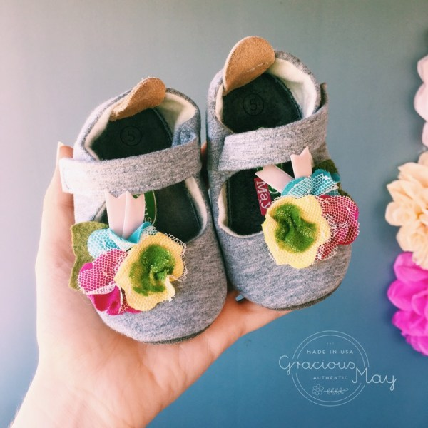 Gracious May Made in USA Baby and Toddler Girl Shoes Gray Shabby Chic Flower