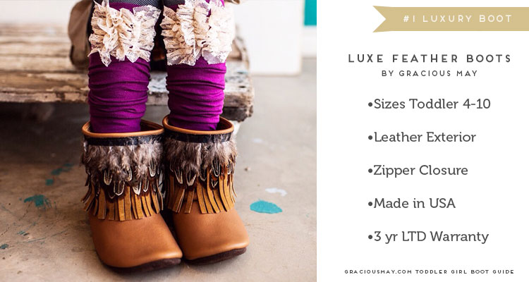 Luxury Girls Feather Boots