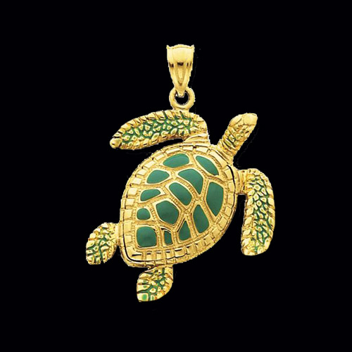 Gold Amp Enamel Sea Turtle Pendant