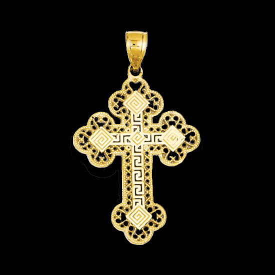 Large Greek Key Filigree Cross