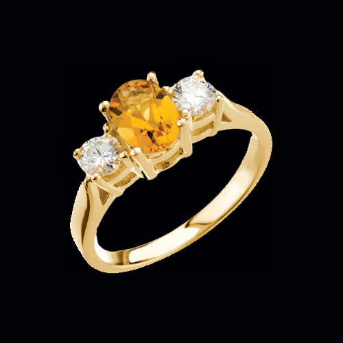 Lovely Citrine Diamond Ring