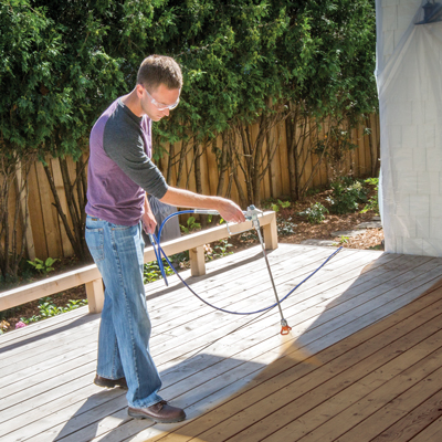 how to paint or stain a deck using a