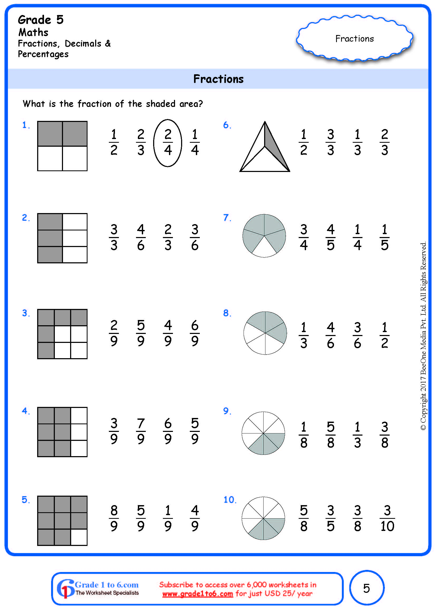 Grade 5 Fraction Of Shaded Area Worksheets Ade1to6