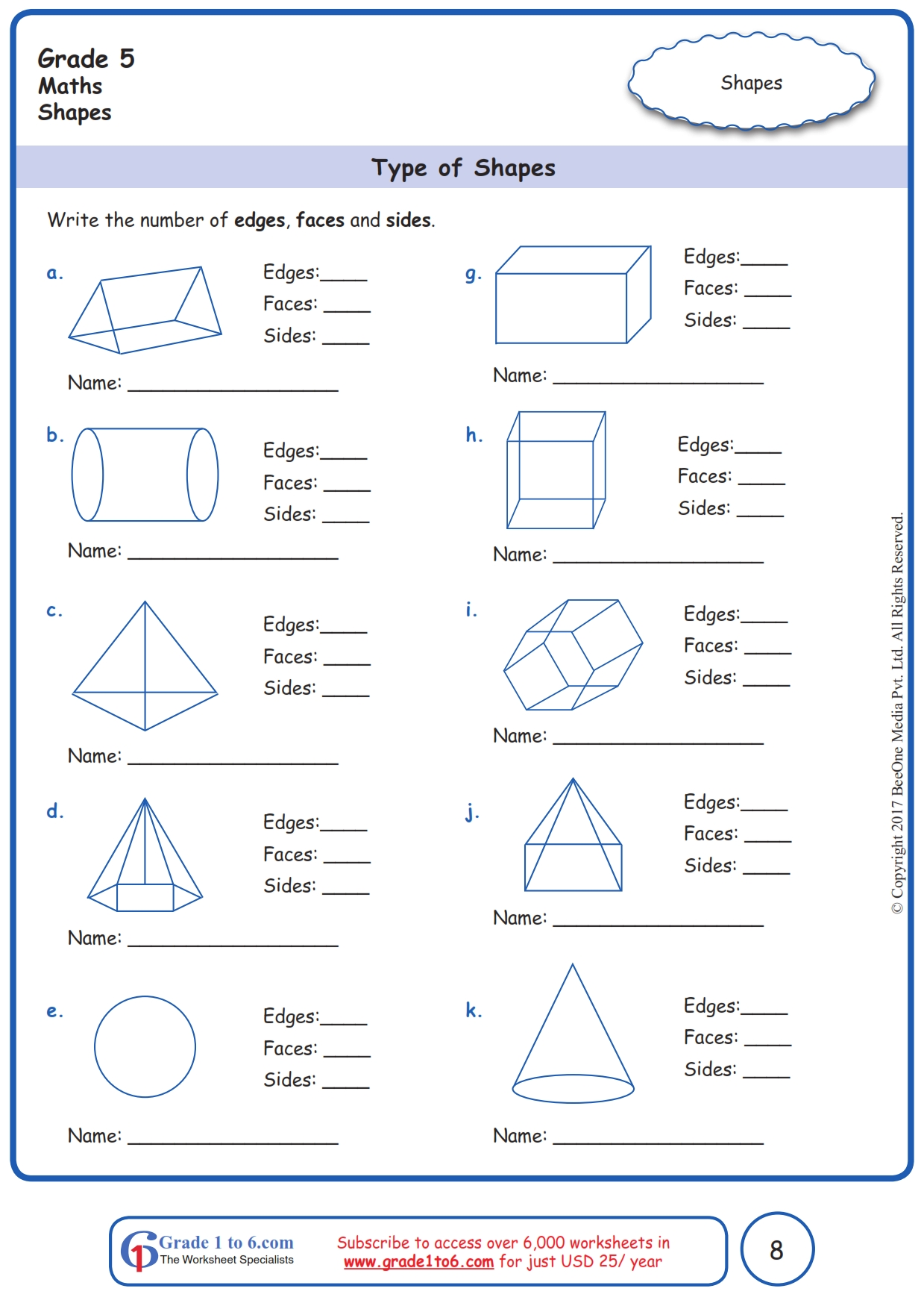 Faces Edges Amp Vertices Worksheet Ade1to6