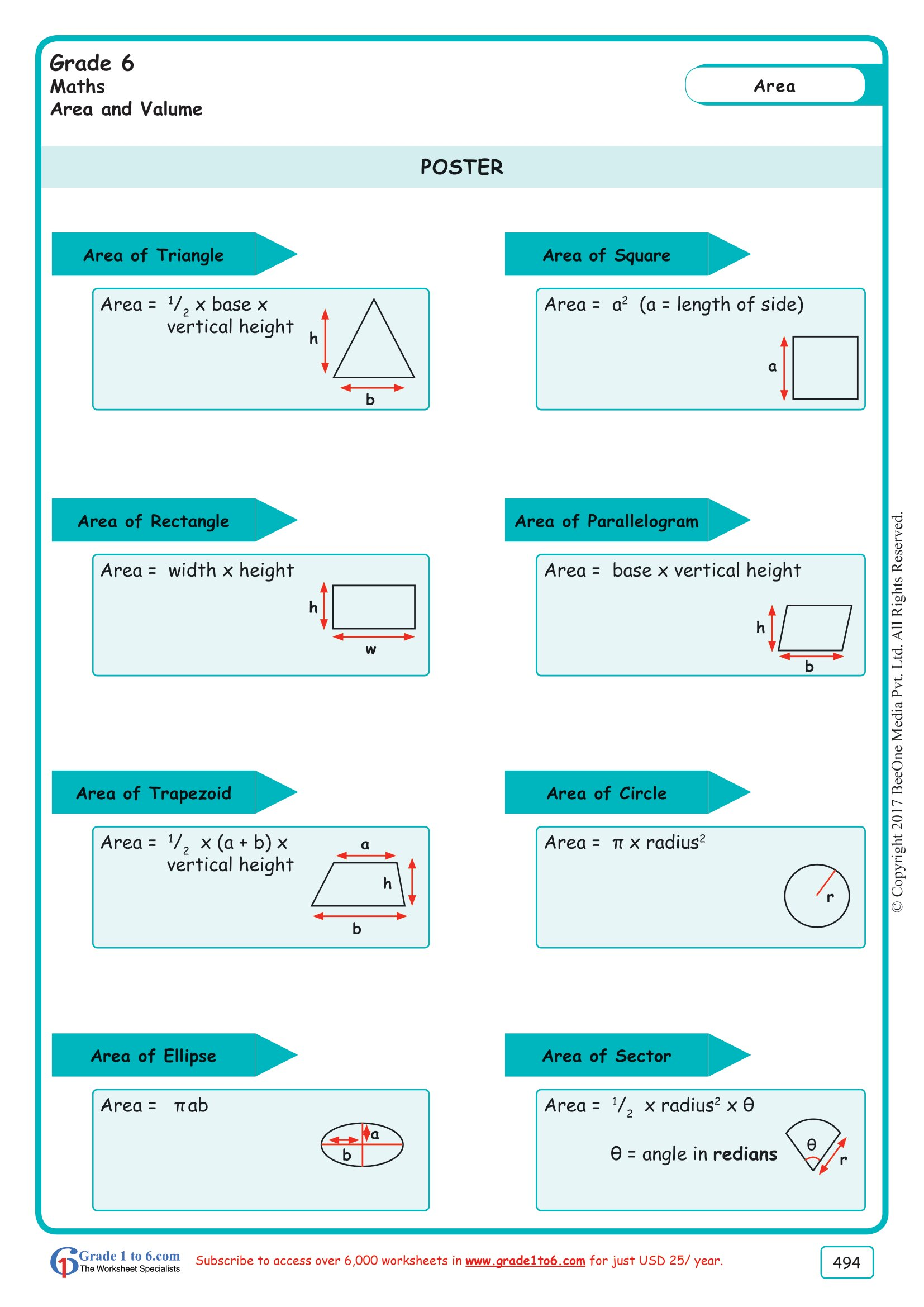 Grade 6 Class Six Area Of Shapes Worksheets Ade1to6
