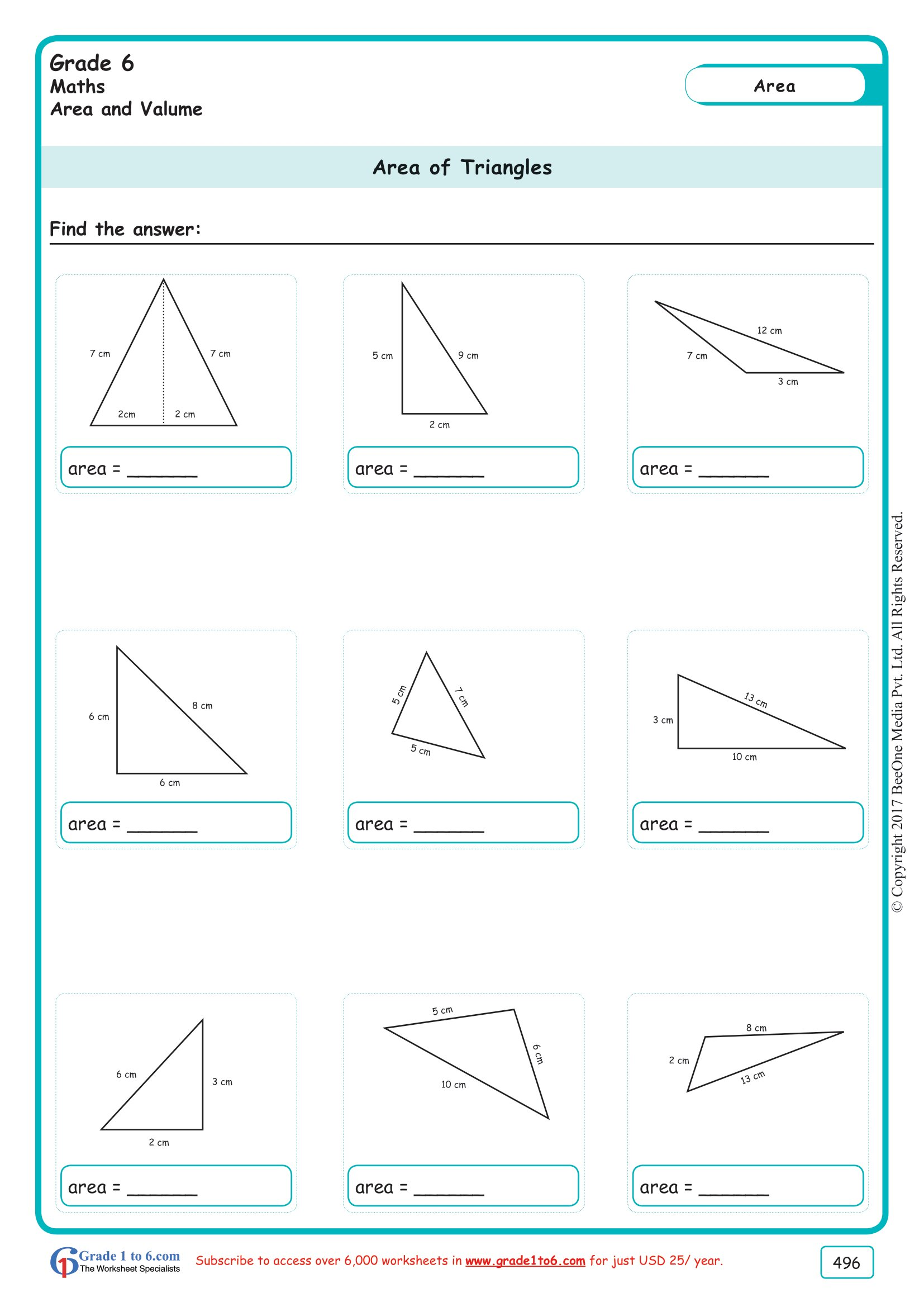 Grade 6 Class Six Area Of A Triangle Worksheets