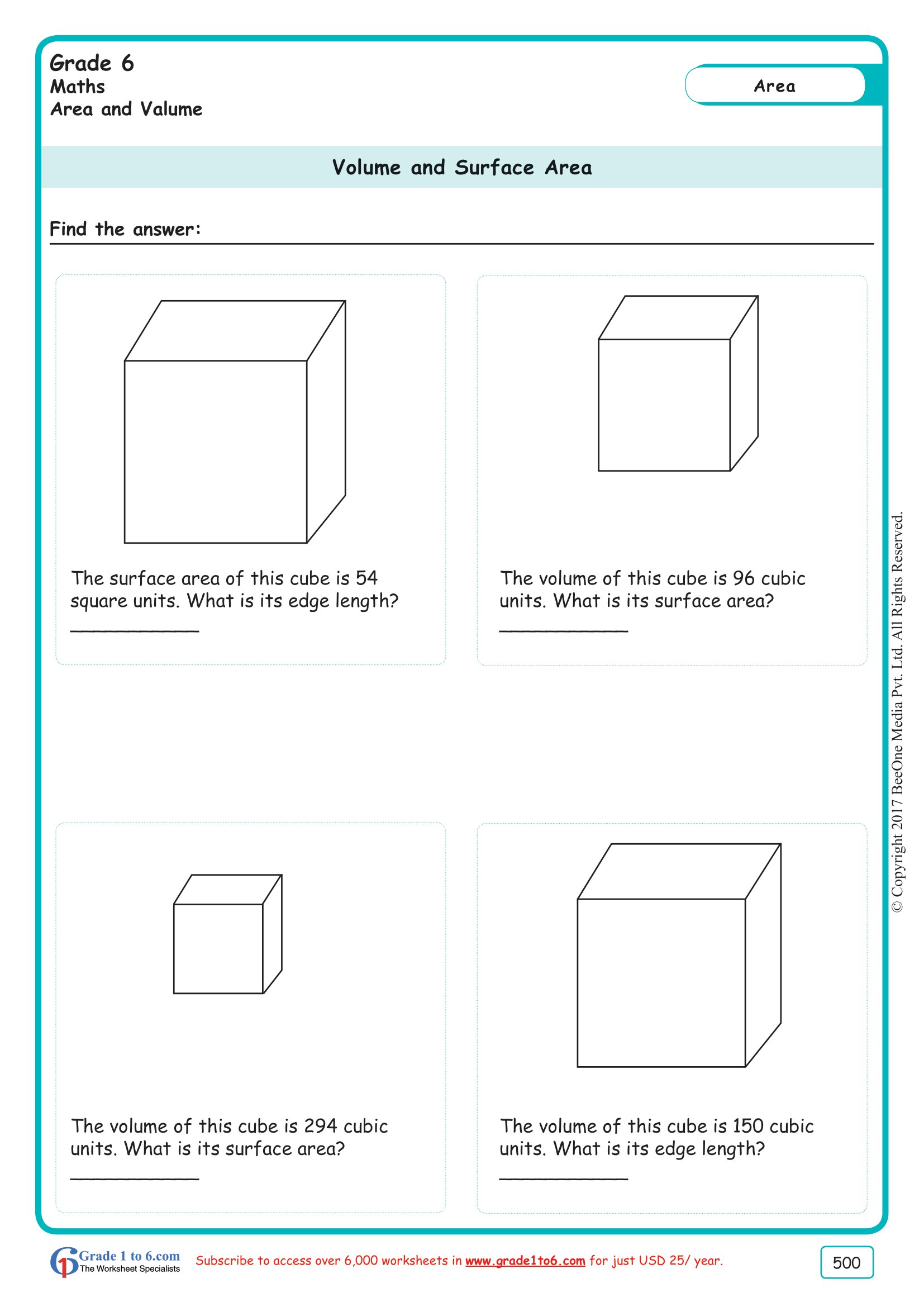 Volume Amp Surface Area Of A Cube Worksheet Ade1to6