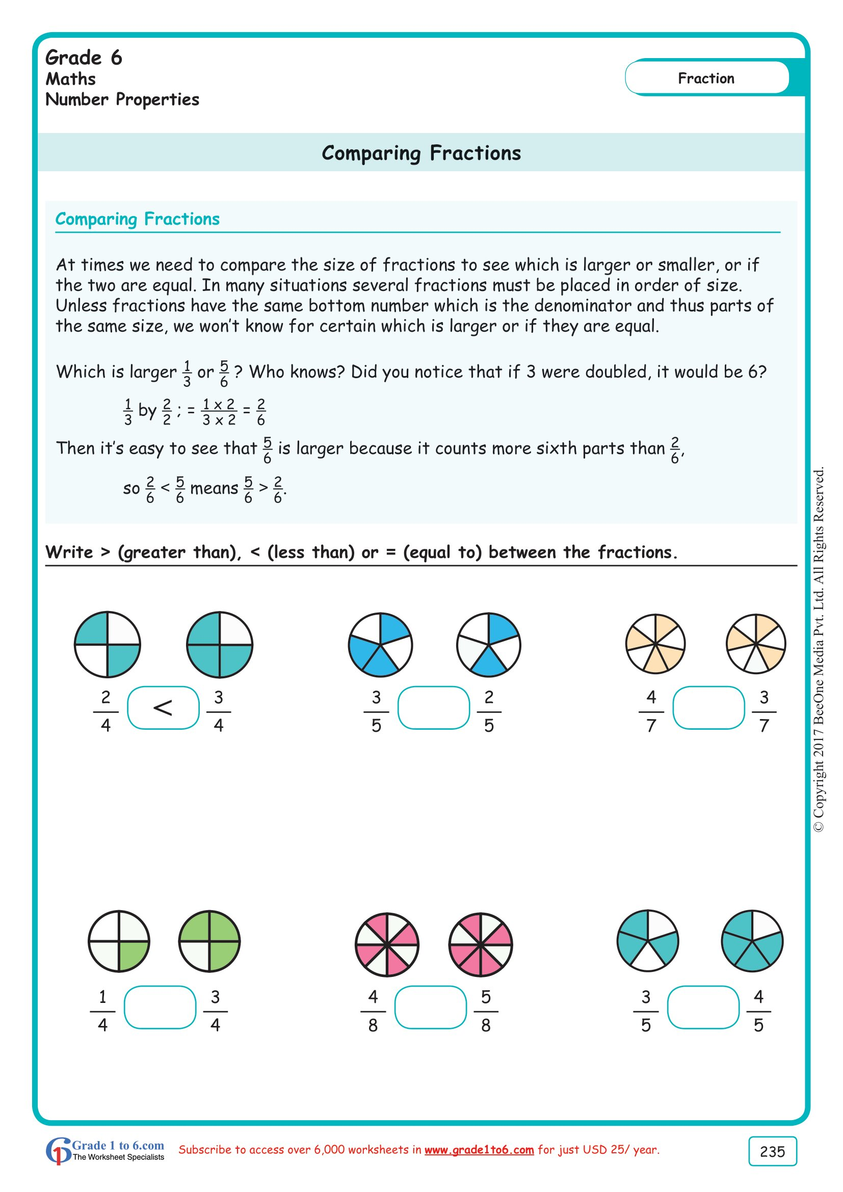 Grade 6 Class Six Comparing Fractions Worksheets