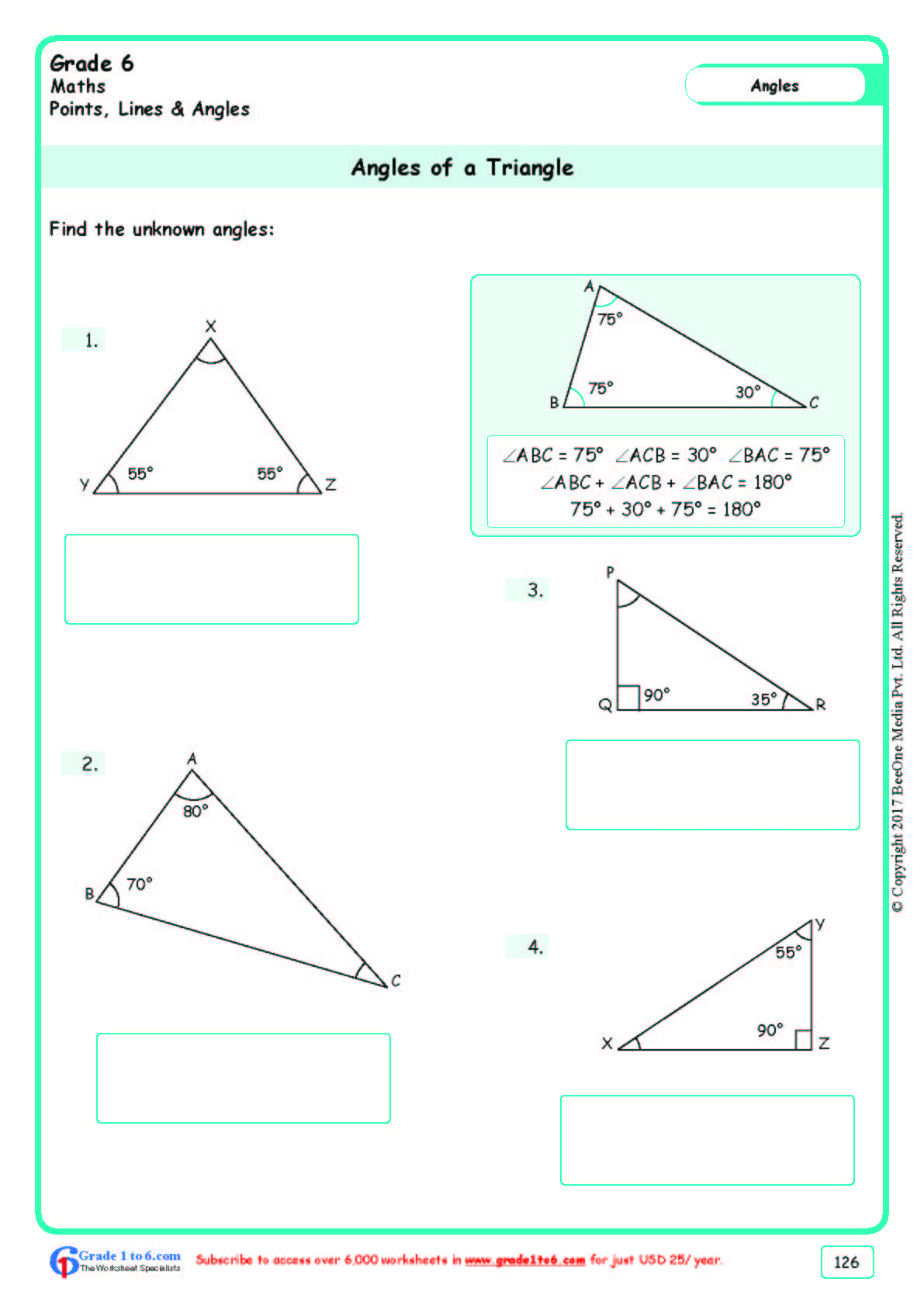 Grade 6 Class Six Angles Of A Triangle Worksheets