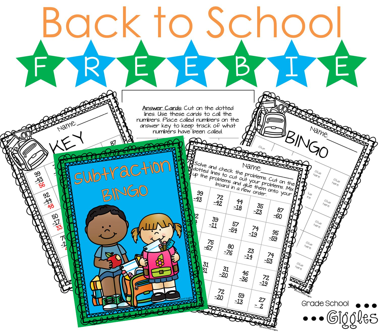 Free Back To School Solve And Play Subtraction Bingo