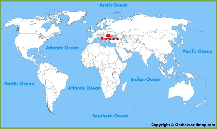 карта на света с Румъния