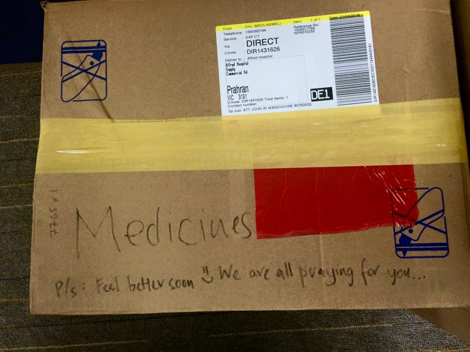 Box of Medicine sent to Nepal with message