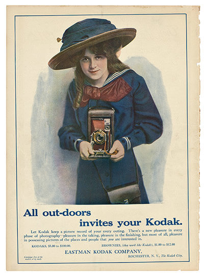 All out-doors invites your Kodak: advertisement in Collier's magazine, 1911 Martha Cooper Collection, 2011