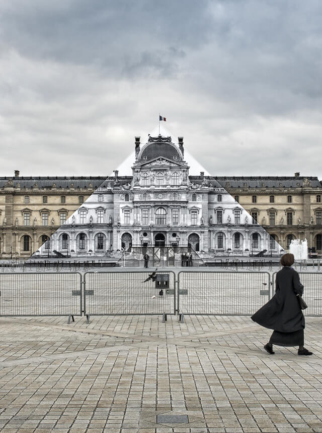 JR, Louvre pyramid, Paris