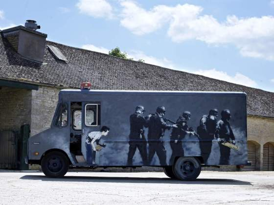 Banksy, Swat Van,Bonhams Auction House, London