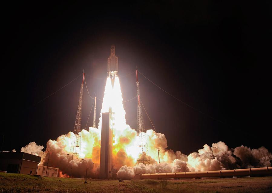 ATV-5 liftoff with Space2 on board on Ariane-5 from ESA's Spaceport in Kourou, 29 July 2014 : Photo - ESA–S. Corvaja space invader