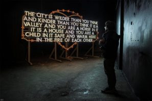 Robert Montgomery, Nuart Post 2016. Street Art Exhibition. Photo credit Ian Cox