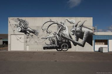 Phlegm, The Crystal Ship Street art Festival, Ostend Belgium 2017 Photo Credit Ian Cox