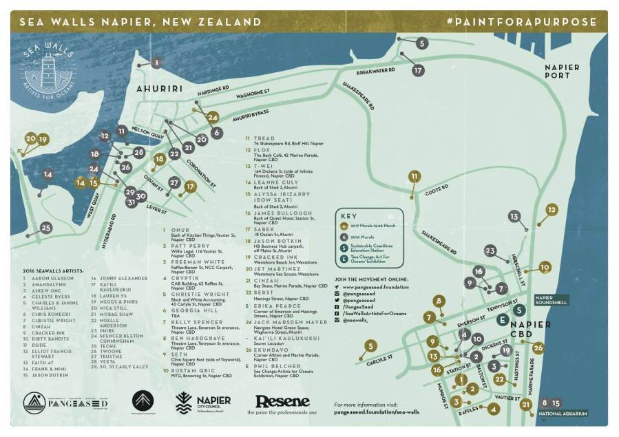 Pangeaseed Seawalls: Artists for Oceans, Napier street art Map 2017