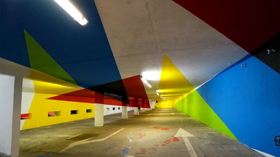 Elian Chali, 2km3 Anamorphic Parking Lot Project, France 2017. Photo Credit Elian Chali