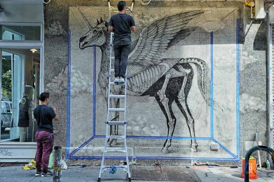 Alexis Diaz, Street Art Mural, rag and bone wall, New York. Photo Credit Just_a_spectator