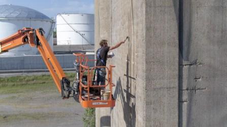 Guido Van Helten, Nashville Street Art Silo Mural, Nashville Walls Project 2017. Photo Credit Those Drones