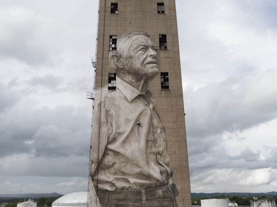 Guido Van Helten, Nashville Street Art Silo Mural, Nashville Walls Project 2017. Photo Credit Those Drones
