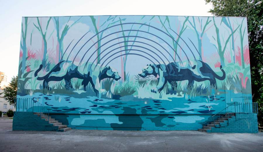 JAZ, Street Art Mural, Back to School! Ukraine, Photo Credit Alena Saponova