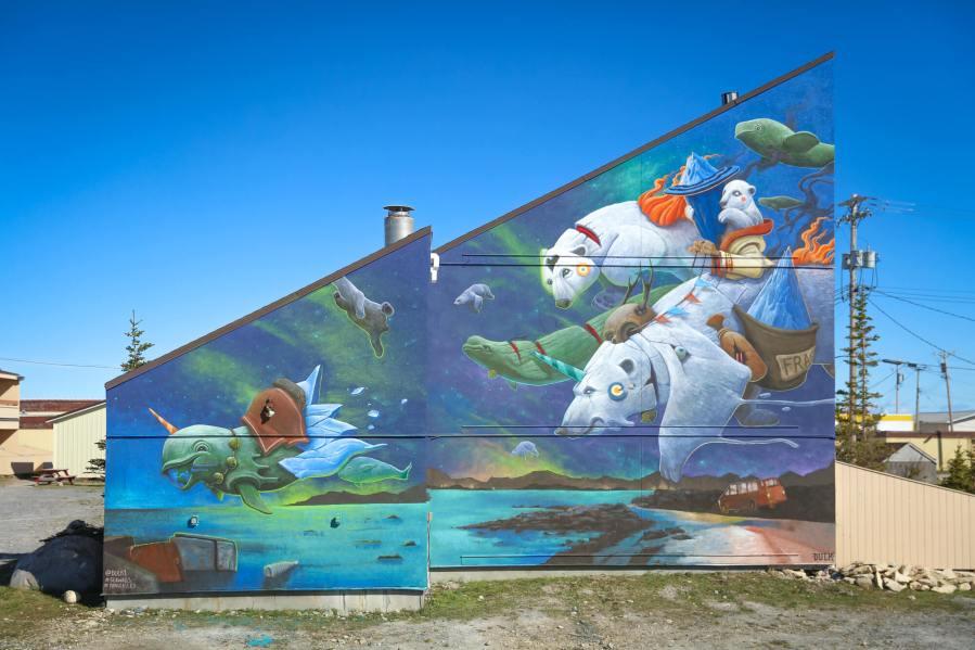 Dulk, Pangeaseed Foundation, Sea Walls: Murals for Oceans Street Art Festival Churchill, 2017. Photo Credit Tré Packard
