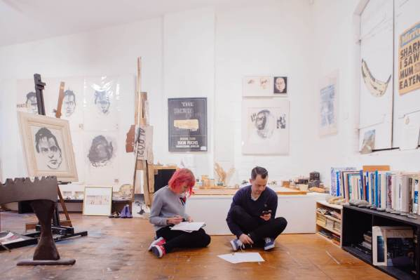 The-Wanderers-episode-Street-Artist -DabsMyla_DABSMYLA designing their mural at the source of their inspiration, The Brett Whiteley Gallery in Surry Hills, Sydney_credit Selina Miles_