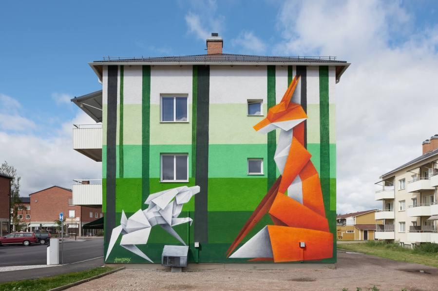 Annatomix, Artscape Street Art Festival, White Moose Project, Sweden 2017. Photo Credit Anders Lipkin.